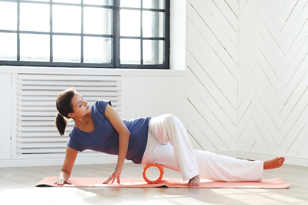 Young woman doing exercises