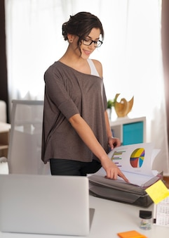 Young woman during working at home