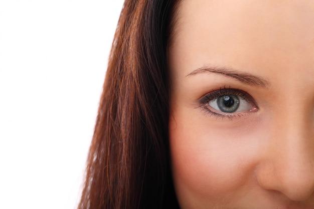 Young woman face closeup
