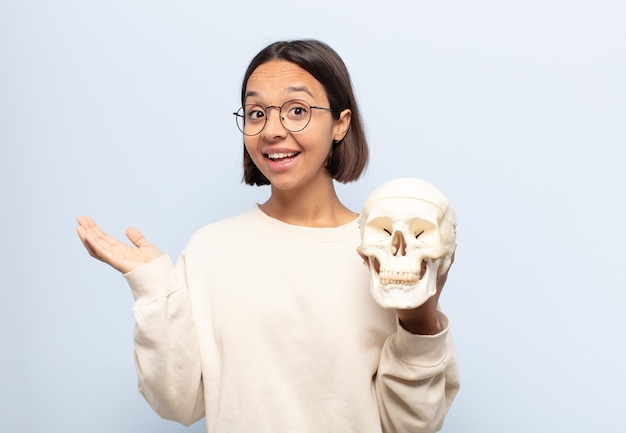 Young woman feeling happy