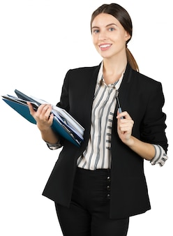 Young woman in formal outfit holding a stack of documents isolated on white