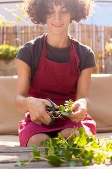 Молодая женщина, садоводство в теплице