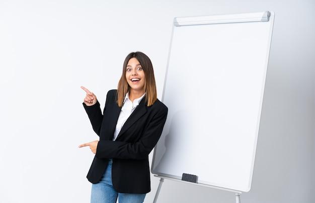 若い女性が驚いて、ポインティング側のホワイトボードでプレゼンテーションを行う