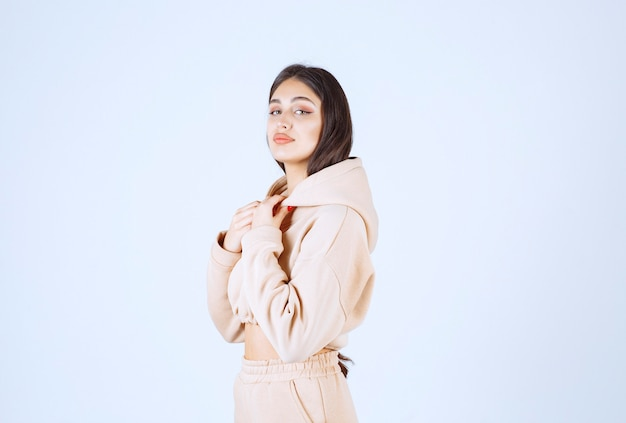 Young woman giving neutral and pretty poses
