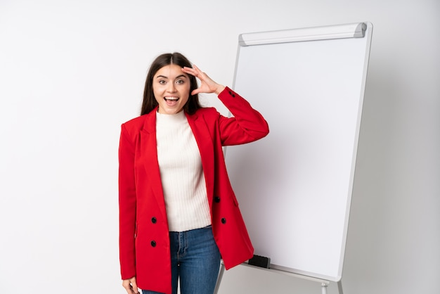 Young woman giving a presentation on white board with surprise and shocked facial expression