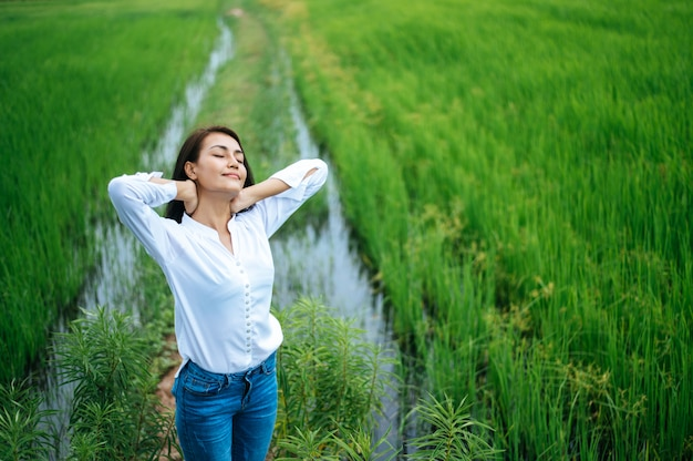 Young woman happily in a green field at sunny day