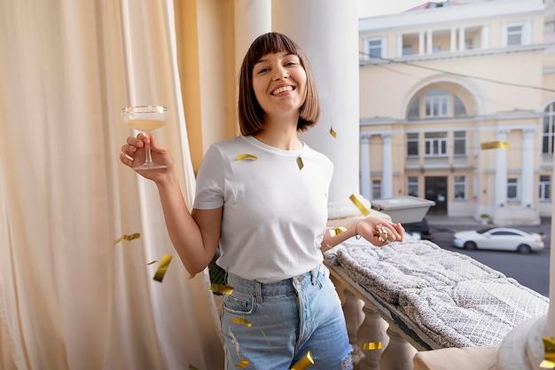 Young woman having fun at a party