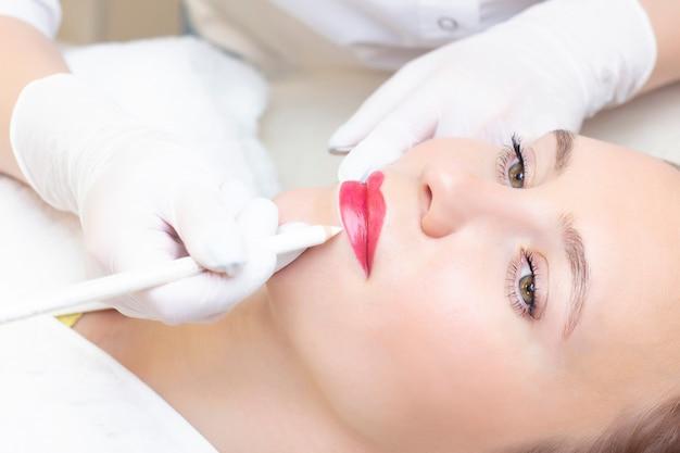 미용사 살롱에서 그녀의 입술에 영구 화장을하는 젊은 여자