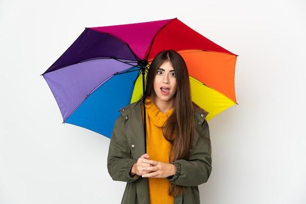 Молодая женщина, держащая зонтик на белом фоне с удивленным выражением лица