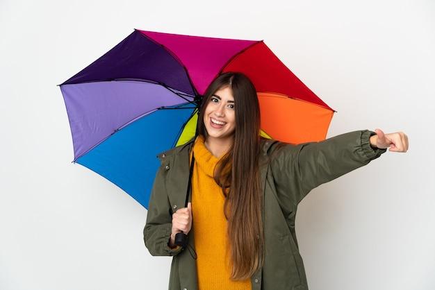 傘を持っている若い女性