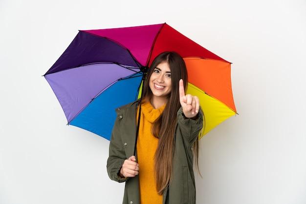 우산을 들고 젊은 여자 프리미엄 사진