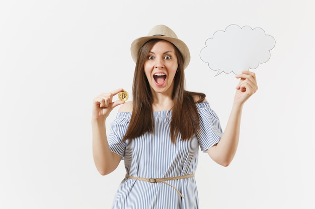 Young woman holding bitcoin, coin of golden color, empty blank say cloud, speech bubble isolated on white background. finance, online business, virtual currency concept. advertising area. copy space