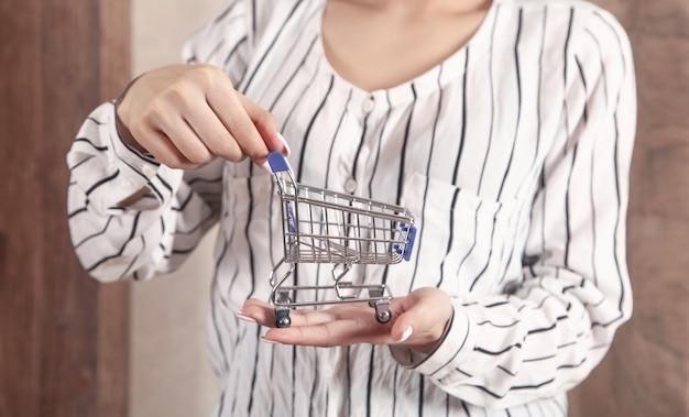 おもちゃのショッピングカートを保持している若い女性。