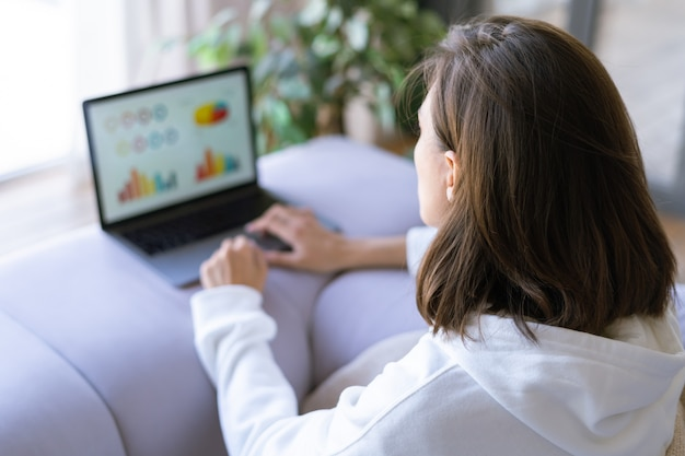 Giovane donna a casa sul divano in una felpa con cappuccio bianca con un laptop, consulente di analisi finanziaria aziendale con grafici del dashboard dei dati
