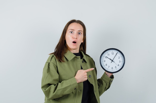 時計を指して驚いて見える緑色のジャケットを着た若い女性、正面図。
