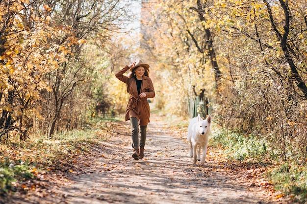 彼女の白い犬と公園の若い女性