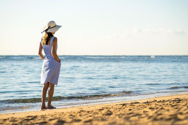 麦わら帽子と空の砂浜を一人で歩くドレスの若い女性
