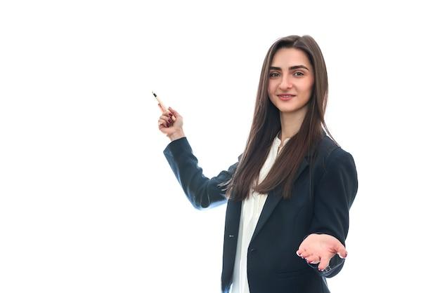 Молодая женщина в костюме изолирована Premium Фотографии