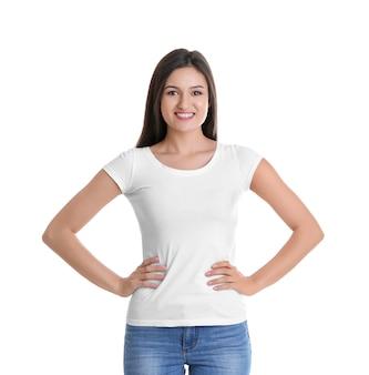 白地にtシャツの若い女性