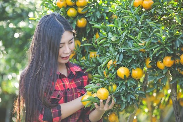 庭の若い女性は庭でオレンジを収穫します。