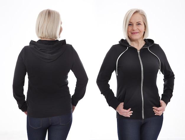 Молодая женщина в белой толстовке спереди и сзади макет