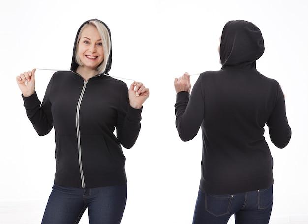 흰색 셔츠 전면 및 후면에 젊은 여자