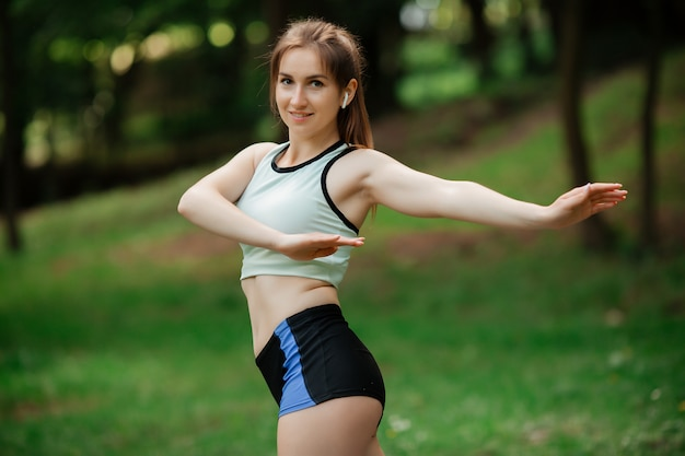 A young woman is engaged in sports a healthy lifestyle