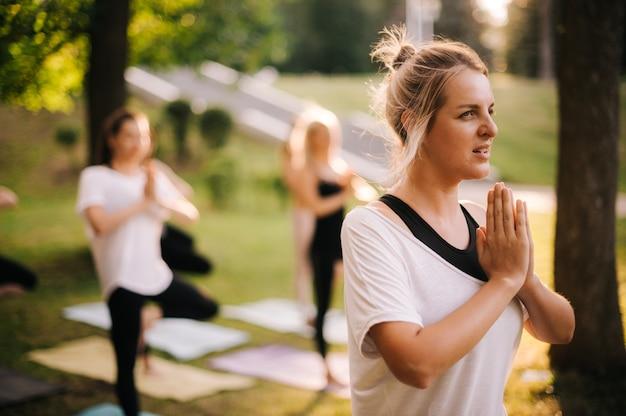若い女性は、日の出の人々のグループが背景を瞑想している間、公園で立って瞑想しています。 omの位置に手を入れます。女の子は夜明けに瞑想しています