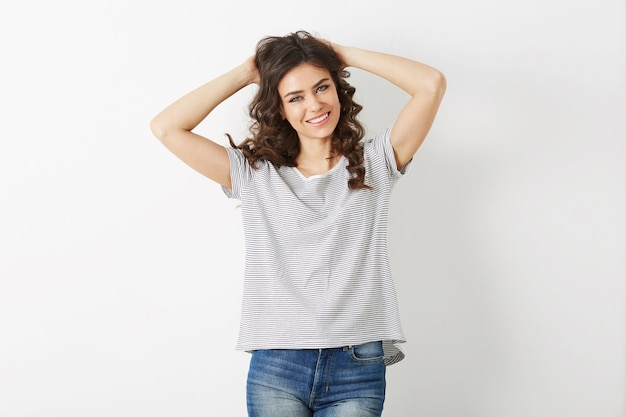 Young woman laughing happy, hipster style, isolated on white background, curly hair