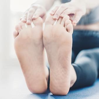 Young woman making yoga workout