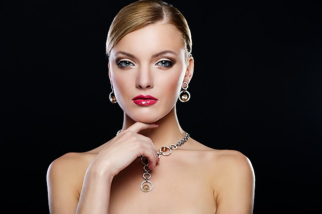 Young woman model with red lips