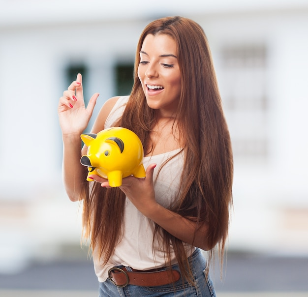 Young woman money saving financial