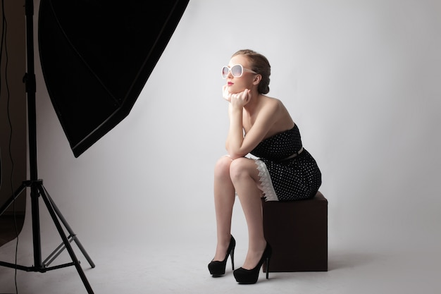 Young woman on a photoshoot