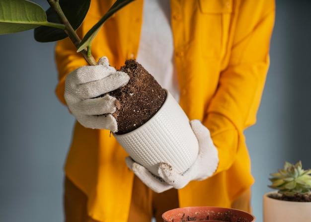 집에서 재배하는 젊은 여자