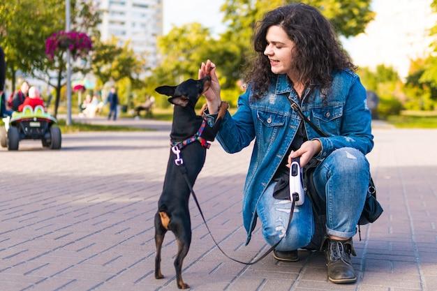 彼女の小さな犬を屋外で遊んで訓練している若い女性。公園で飼い主と黒と黄褐色のミニチュアピンシャー雌犬
