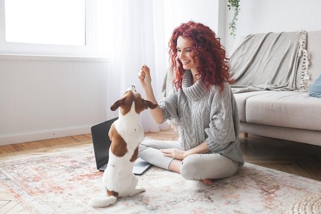 若い女性が彼女のペットと遊ぶ。女性と彼女の犬は屋内。家で飼っている飼い主と彼のペットが楽しんでいます。コマンドを実行する女性トレーニングジャックラッセルテリア。