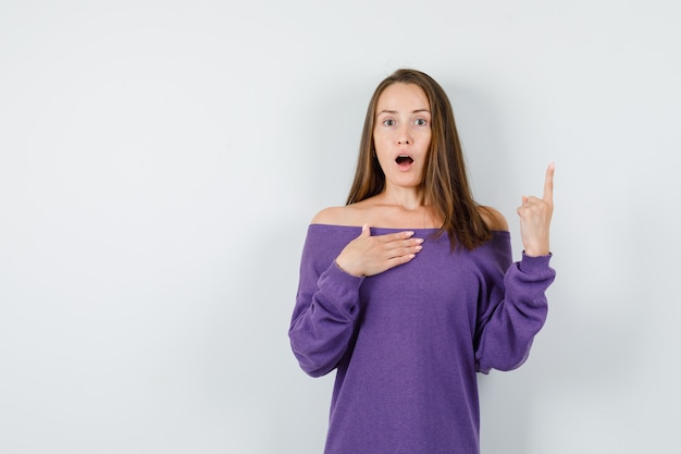 Young woman pointing up while asking 'me?' in violet shirt and looking surprised. front view.
