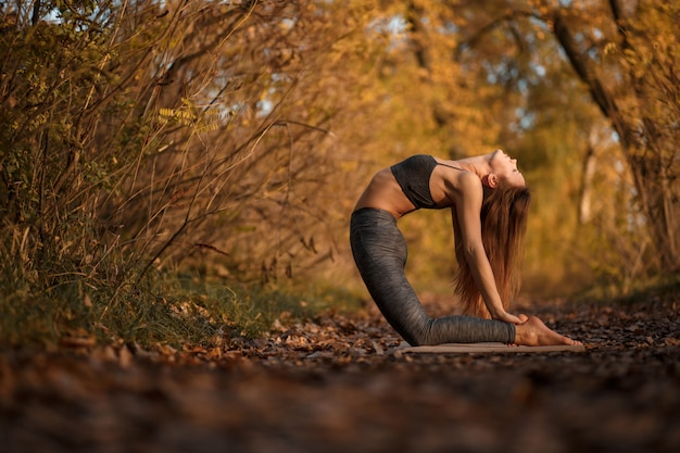 Young woman practicing yoga exercise at autumn park with yellow leaves. sports and recreation lifestyle