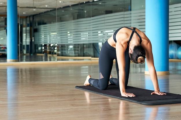 Young woman practicing yoga or pilates in a gym, exercising in sportswear, doing cat pose or marjaryasana.