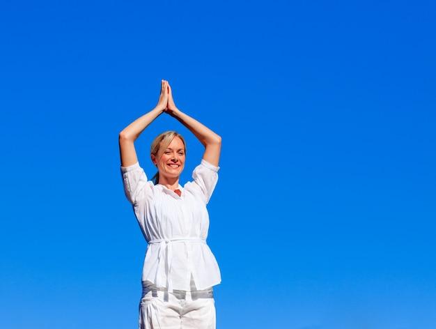 Young woman practising meditation