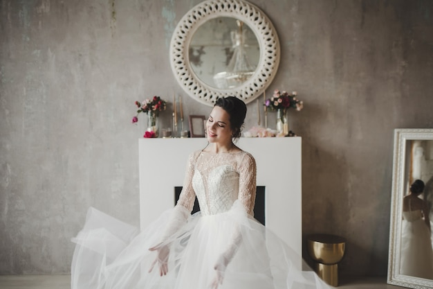 Young woman princess smiling in classic wedding dress. stylish bride fashion queen