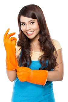Young woman ready to do some cleaning