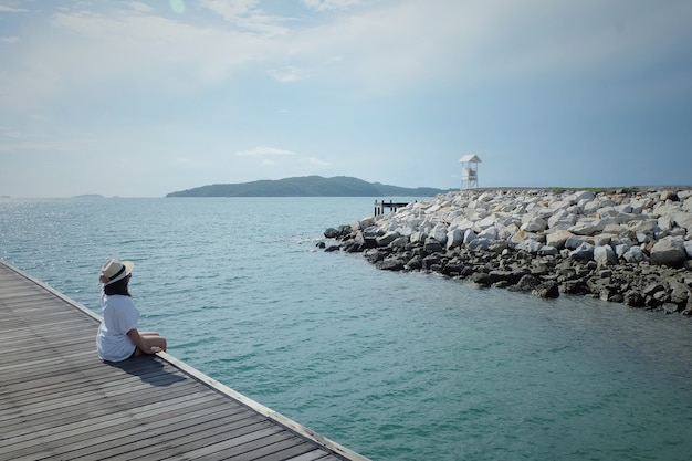 Young woman relax on vacation at beach. relax and travel concept.