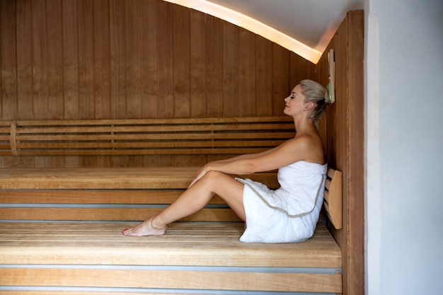 Young woman relaxing at a spa hotel