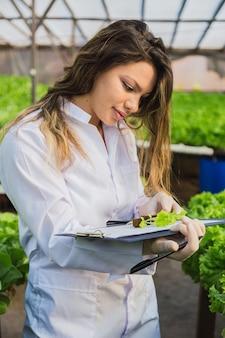 Молодая женщина-ученый анализирует и изучает исследования на участках органических, гидропонных овощей.
