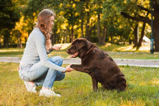 Молодая женщина, пожимая собаку лапы в парке