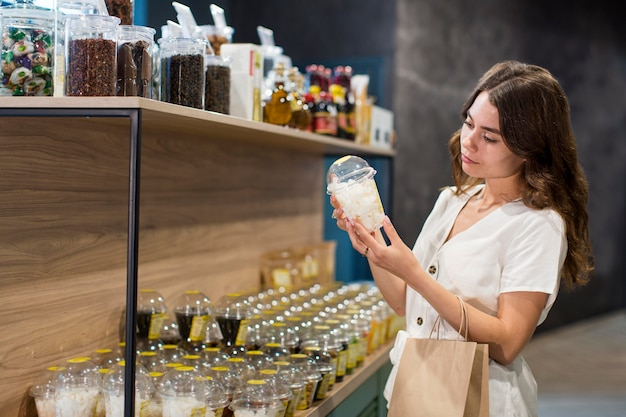 Young woman shopping bio products
