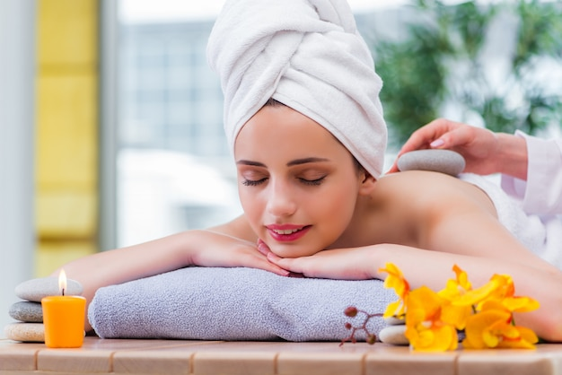 Young woman in spa concept