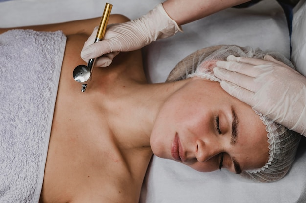 Young woman at the spa during a skin treatment