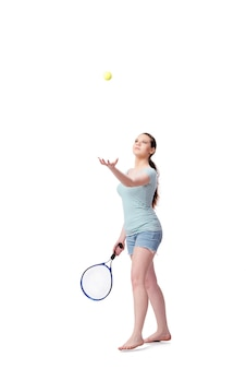 Young woman in sports concept isolated